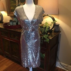 Michael Kors Silver Sequin Wrap Dress